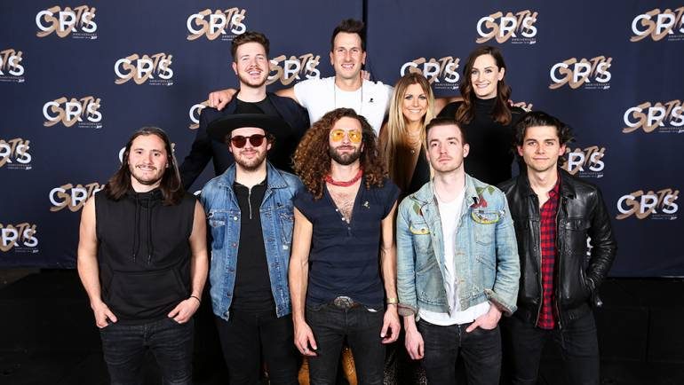 Pictured (L-R back row): BMI's Josh Tomlinson, BMI songwriters Russell Dickerson and Lindsay Ell, and BMI's MaryAnn Keen. (Front Row): country band LANCO.