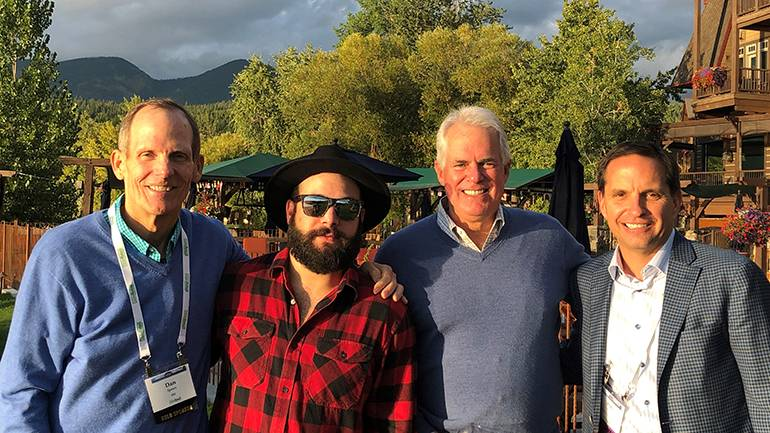 Pictured (L-R) before BMI songwriter Sam James' performance at the Council of State Retail Associations' annual conference held at the Lodge at Whitefish in Montana are: BMI's Dan Spears, BMI songwriter Sam James, Montana Retail Association President and Conference Chair Brad Griffin and Illinois Retail Merchants Association President and CEO and CSRA Board Chair Rob Karr.