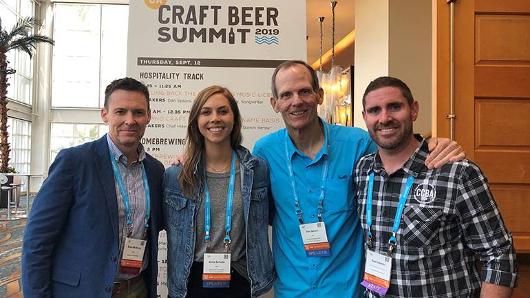 "Pictured (L-R) after BMI's presentation ""Pulling Back the Curtain on Music Licensing"" at 2019 California Craft Beer Summit in Long Beach are: BMI's Brian Mullaney, BMI songwriter Anna Schulze, BMI's Dan Spears and California Craft Brewers Association Government Affairs Manager Sean Hamlin."
