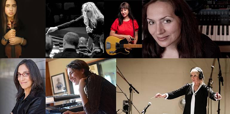 Clockwise from upper left are: Isolde Fair, Amy Andersson, Mandy Hoffman, Penka Kouneva, Lolita Ritmanis <em>(photo by Lisa Margolis)</em>, Starr Parodi and Miriam Cutler <em>(photo by Thomas Mikusz)</em>.