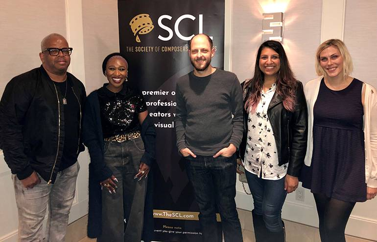 "Pictured (L-R) at the SCL screening of ""Harriet,"" held at The London West Hollywood, are award-winning BMI composer Terence Blanchard, singer-songwriter and actress Cynthia Erivo, journalist and discussion moderator Tim Greiving, BMI's Reema Iqbal, and SCL's Marie Kingsley."