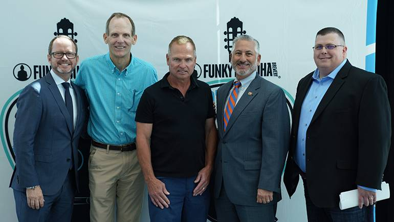 Pictured (L-R) after the press conference announcing the 1st annual Downtown St. Petersburg Songwriters Festival are: Cox Media-Tampa Market Manager Keith Lawless, BMI's Dan Spears, BMI songwriter Tim James, St. Petersburg Mayor Rick Kriseman and Cox Media-Tampa Director of Special Events Dan Connelly.