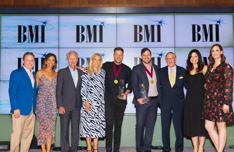 (L-R): BMI's Jody Williams, Be Essential Songs' Holly Zabka and Terry Hemmings, BMI's Leslie Roberts, 2019 Song of the Year songwriter Ran Jackson, 2019 Songwriter of the Year Ethan Hulse, 2019 BMI Compass Award honoree Elwyn Raymer, Be Essential Songs' Jamie Rodgers and BMI's MaryAnn Keen