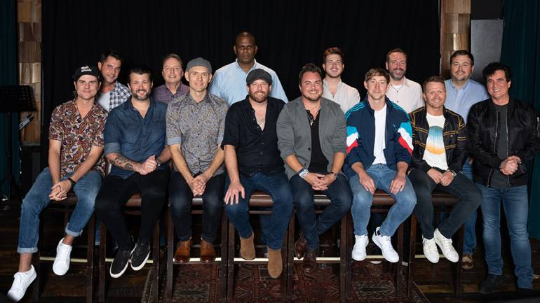 Pictured (L-R Top Row): Endurance Music Group's Michael Martin, BMI's Jody Williams, Sony ATV's Jon Platt, BMI's Josh Tomlinson, Sony ATV's Josh Van Valkenburg and BMI's Mason Hunter. (Bottom Row): BMI songwriters Ross Copperman and The Eli Young Band, ASCAP songwriter Ashley Gorley, GMR songwriter Shane McAnally and Big Machine's Scott Borchetta.