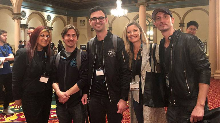 Pictured are BMI's Anne Cecere (left) and Natalie Baartz (second from right) with BMI composers Kole Hicks, Sebastien Najand and Jason Willey of Riot Games during Game Sound Con 2019 in LA.