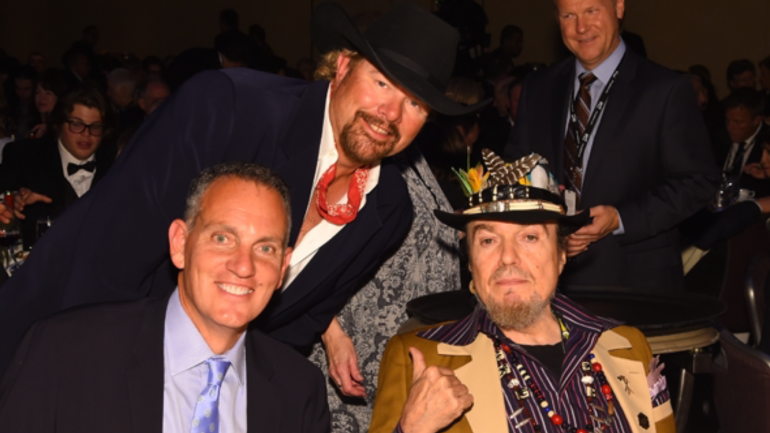 BMI President & CEO Mike O'Neill, Toby Keith and Dr. John at the Songwriters Hall of Fame induction ceremony on June 18, 2015 in New York City.