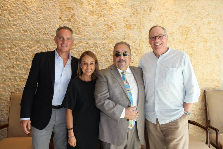 BMI President & CEO Mike O'Neill, BMI Vice President, Creative, Latin Music Delia Orjuela, Willie Colón and BMI Vice President, Creative, Charlie Feldman.