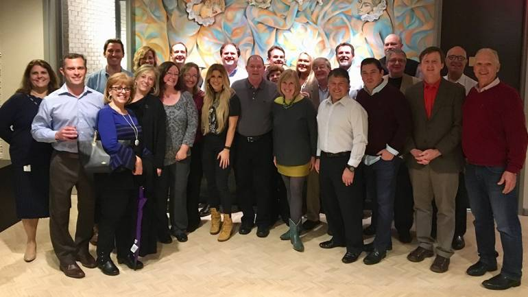 After her performance, BMI singer-songwriter Lindsay Ell gathered with BMI team members Teresa Stafford-Scherer and Spencer Nohe for a photo with the IPMA board.
