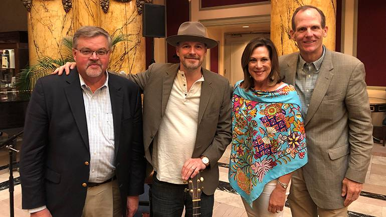 Pictured (L-R) before BMI songwriter Jason White's performance at the 2019 ISHA summer conference are: Virginia Restaurant, Lodging & Travel Association President and CEO Eric Terry, BMI songwriter Jason White, North Carolina Restaurant & Lodging Association President and CEO and ISHA Board Chair Lynn Minges and BMI's Dan Spears.