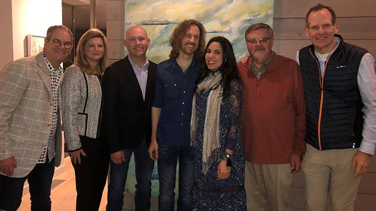 Pictured (L-R) before the BMI duo Dawn & Hawkes wows listeners at the ISHA Winter Conference in Austin are: Texas Hotel & Lodging Association CEO Scott Joslove, Alabama Restaurant & Hospitality Association CEO and incoming ISHA Board Chair Mindy Hanan, BMI's Mitch Ballard, BMI songwriters Chris Hawkes and Miranda Dawn, Virginia Restaurant, Lodging & Travel Association CEO and ISHA Board Chair Eric Terry, and BMI's Dan Spears.