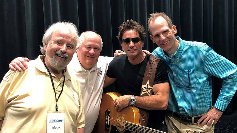 Pictured (L-R) before Steve Azar's performance at the GRAMMY Museum are: Moby of the Moby in the Morning Show, President and CEO of the Delta Radio Group and host of the 2019 Spring Idea Bank conference Larry Fuss, BMI songwriter Steve Azar and BMI's Dan Spears.