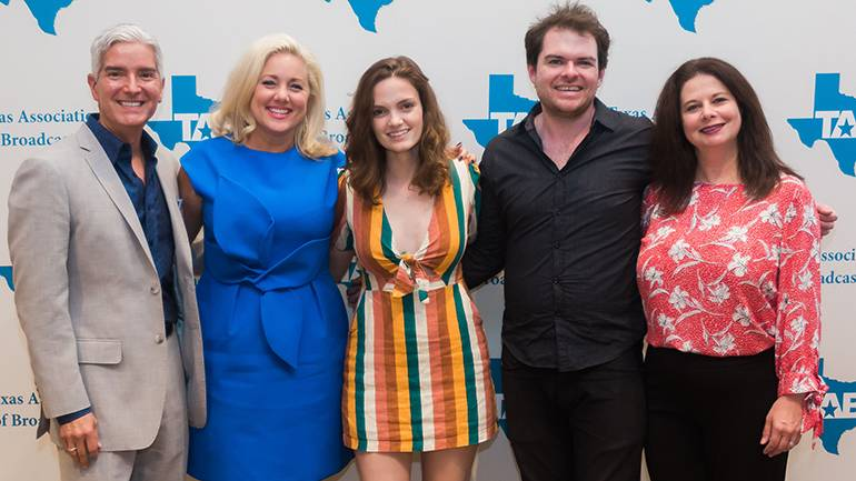 Pictured (L-R) before Jane Ellen Bryant's performance are: TAB President Oscar Rodriguez, TAB Board Chairman and Entercom Houston's SVP and Market Manager Sarah Frazier, BMI singer-songwriter Jane Ellen Bryant, guitarist Brian Patterson and BMI's Jessica Frost.