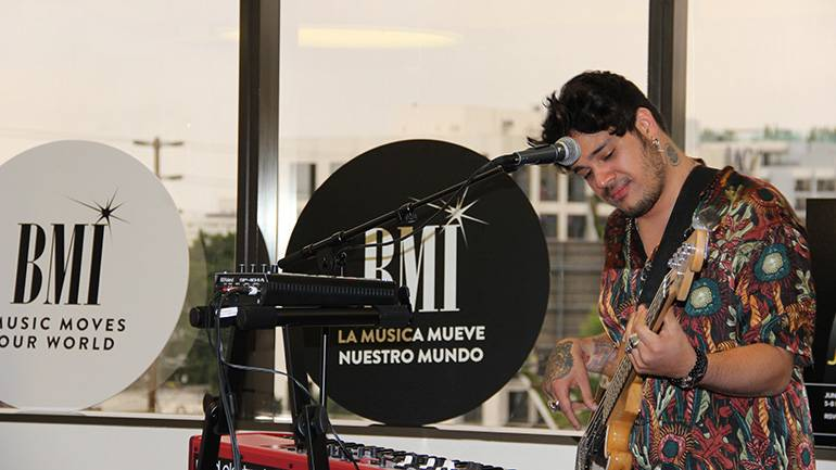 Colombian singer/songwriter Jona Camacho performing during a private showcase at the BMI Los Angeles office on June 18, 2019.