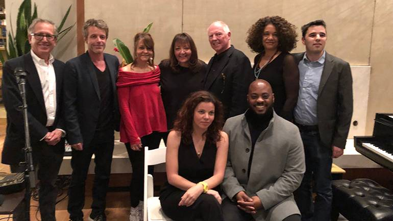 Pictured at the K17/Sundance Institute Film Music Program concert are: BMI composers Peter Golub and Harry Gregson Williams, Tracy McKnight, BMI's Doreen Ringer-Ross, and BMI composers George S. Clinton, Kathryn Bostic, and Bijan Olia. Seated are BMI composers: Anna Drubich and Jongnic Bontemps.