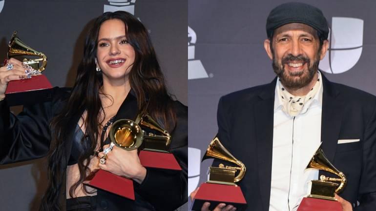 Rosalía (SGAE) and Juan Luis Guerra at the 2019 Latin GRAMMY Awards in Las Vegas