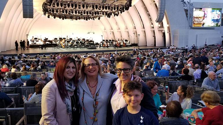 Pictured at the Hollywood Bowl performance are BMI's Anne Cecere, BMI composer Laura Karpman, BMI composer and wife Nora Kroll-Rosenbaum, and their son Benny.