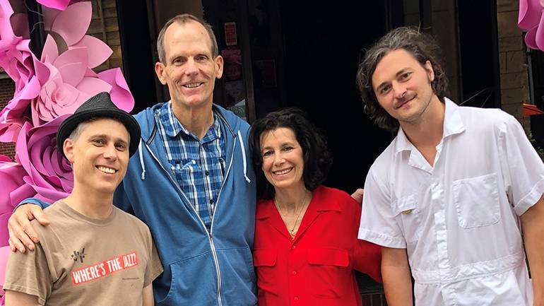 Pictured (L-R) before Harpooner takes the stage at the Little Italy Madonnari Festival in Baltimore are: Baltimore Jazz Alliance Board President Ian Rashkin, BMI's Dan Spears, Germano's Piattini co-owner and Festival Executive Producer Cyd Wolf and Harpooner lead singer Scott Schmadeke.