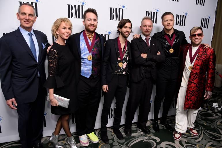 (L-R) BMI President & CEO Mike O'Neill, Trudie Styler, Daniel Platzman, Daniel Wayne Sermon, Sting, Dan Reynolds and Ben McKee attend the 67th Annual BMI Pop Awards on May 14, 2019 in Beverly Hills, California.