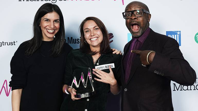 Pictured (L-R) at the event are BMI VP Europe Shirin Foroutan, Breakthrough Manager Award recipient Sophie Bloggs, and MMF Vice Chair and founder of Ferocious Talent, Kwame Kwaten.