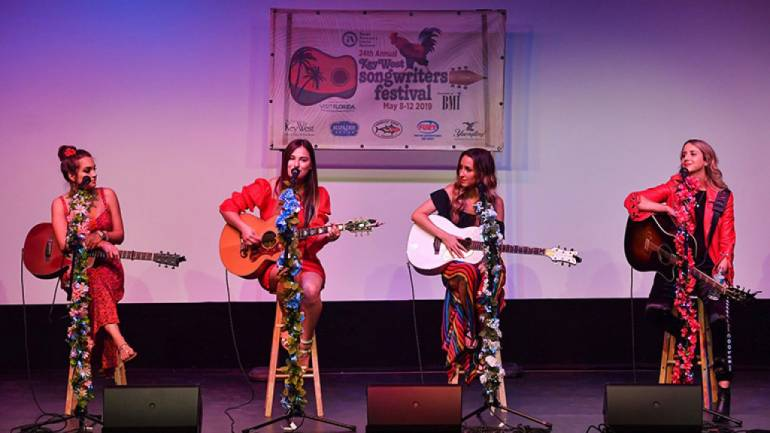 Pictured are: Lauren Mascitti, Madison Kozak, Parker Welling, and Kaylee Bell during the 2019 Key West Songwriters Festival.