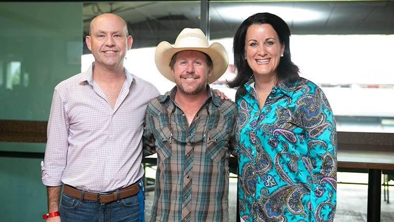 Pictured (L-R) before Kyle Park took the stage are: BMI's Mitch Ballard, BMI songwriter Kyle Park and TRA CEO Emily Williams Knight, Ed.D.