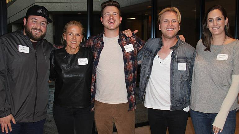 Photo (L-R): Big Loud's Michael Giangreco, BMI's Leslie Roberts and Josh Tomlinson, Pinnacle Bank's Micah Howard and BMI's MaryAnn Keen.