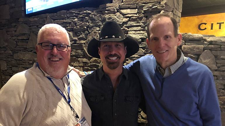 """Pictured (L-R) before Jamie Lee Thurston's performance at """"The Toast"""" are: Massachusetts Restaurant Association President and CEO Bob Luz, BMI songwriter Jamie Lee Thurston and BMI's Dan Spears."""