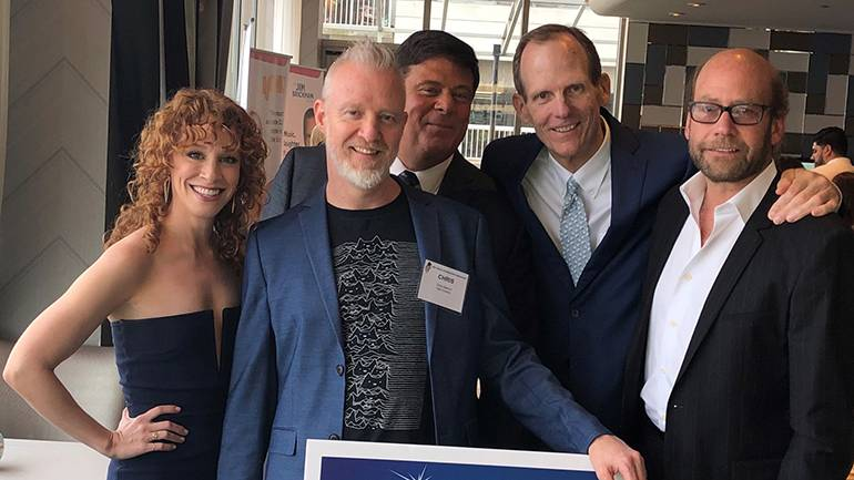 Pictured (L-R) before the NJBA presented BMI songwriter Chris Barron with their Lifetime Achievement Award are: Broadway actress and dancer and Chris Barron's wife Lindsay Chambers, BMI songwriter Chris Barron, NJBA President and CEO Paul Rotella, BMI's Dan Spears and Beasley Media Senior VP/Market Manager Dan Finn.