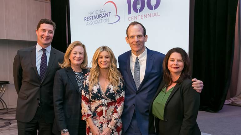 Pictured (L-R) before Stephanie Quayle's performance at the National Restaurant Association's public affairs conference are: BMI's Michael Collins, National Restaurant Association President and CEO Dawn Sweeney, BMI songwriter Stephanie Quayle and BMI's Dan Spears and Jessica Frost.