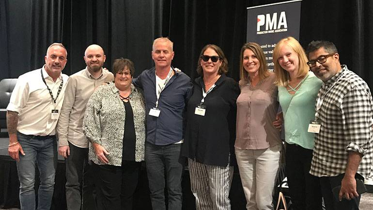 BMI's Michael Crepezzi, Philip Shurt and Misha Hunke, renowned composer Blake Neely and BMI's Alison Smith, Dina Partington, Megan McNary and Shouvik Das pause for a photo at the annual Production Music Conference on September 26th, 2019, in Hollywood.