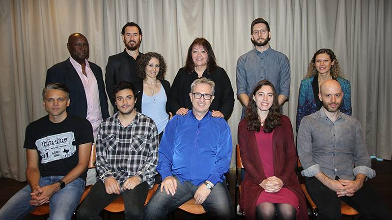 Gathered for a photo are participants of the Composing for the Screen Workshop with their mentors, Rick Baitz and BMI's Doreen Ringer-Ross. (Standing L-R): Mark Taylor, Brian Shankar Adler, Kallie Marie, BMI's Doreen Ringer-Ross, Fraser Campbell, Gizem Gokoglu. (Seated L-R): Boris Skalsky, Gabriel Torrado, workshop leader Rick Baitz, Abigail Shelton, Luke Schwartz.