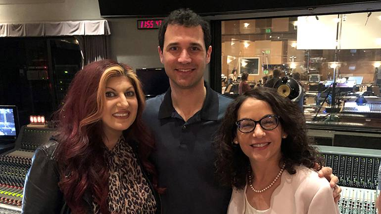 "Pictured at the Sony scoring session for ""Gears of War 5"" are BMI's Senior Director – Creative, Film/TV and Visual Media Anne Cecere, multi-award-winning composer Ramin Djawadi and agent Cheryl Tiano."
