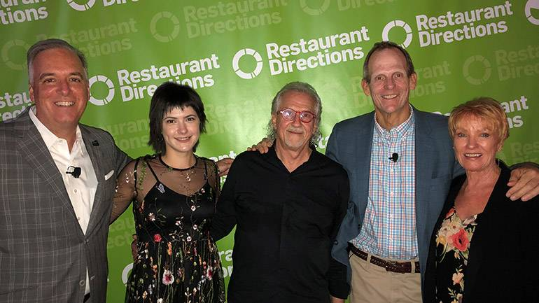 Pictured (L-R) before BMI composer Snuffy Walden and BMI songwriter Sara Niemetz's performance during the Restaurant Directions conference at the JW Marriott Los Angeles LA Live are: Winsight Group President of Restaurant Media & Events Chris Keating, Sara Niemetz, Snuffy Walden, BMI's Dan Spears and Winsight Senior Vice President and Restaurant Events Conference Director Carol Walden.