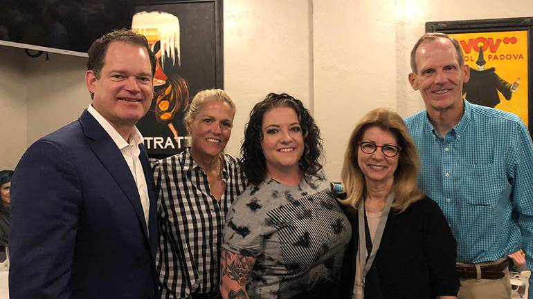 Pictured (L-R) after BMI songwriter Ashley McBryde's performance at the Rising Through the Ranks annual dinner are: iHeartMedia President of Integrated Revenue Strategy Hartley Adkins, BMI's Leslie Roberts, Ashley McBryde, RAB President and CEO Erica Farber and BMI's Dan Spears.