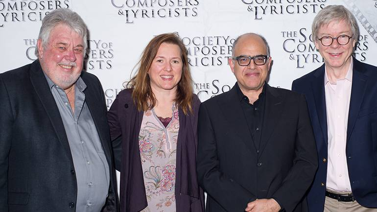 Pictured at the event are SCL president Ashley Irwin, BMI's Antonella DiSaverio, composer David Yazbek and BMI's Pat Cook.