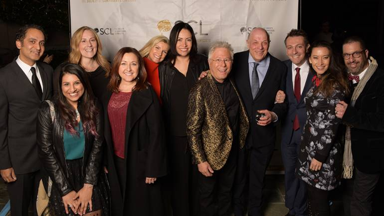 Pictured (L-R) at the Society of Composers & Lyricists' holiday party are: Vivek Maddala, BMI's Reema Iqbal, Ronit Kirchman, Cindy O'Connor, BMI's Natalie Baartz and Alex Flores, SCL Lifetime Achievement Award honoree Alan Menken, Charles Fox, Fabrizio Mancinelli, Sherri Chung and Chris Lennertz.
