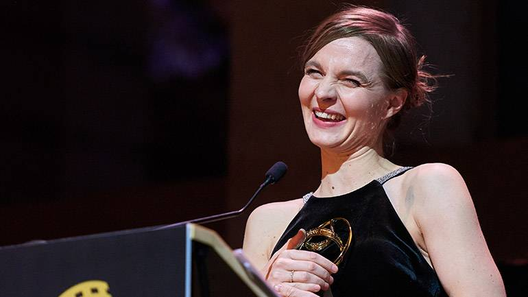 """BMI Composer Hildur Guðnadóttir receives her awards for her work in """"Chernobyl"""" and """"Joker"""" during the first edition of the Society of Composers & Lyricists Awards."""
