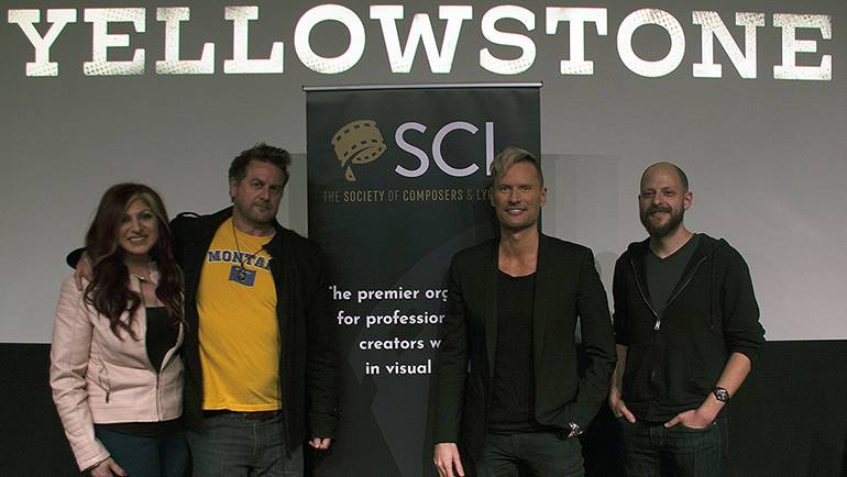 Pictured at the screening are: BMI's Senior Director of Creative Anne Cecere, SCL's COO Mark Smythe, BMI composer Brian Tyler and film music journalist and moderator Tim Greiving.
