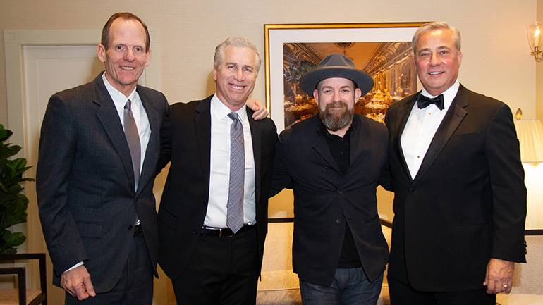 Pictured (L-R) before Sugarland's performance at the Golden Mike Awards are: BMI's Dan Spears, BMI songwriter Kristian Bush, Nexstar Media founder, Chairman and 2019 Golden Mike Award Honoree Perry Sook.