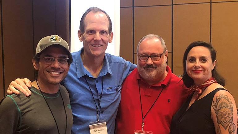 Pictured (L-R) before the panel on music licensing at the Texas Craft Brewers Guild annual Education & Safety Summit held in San Marcos are: Aqua Brew owner and founder Carlos Russo, BMI's Dan Spears, Texas Craft Brewers Guild Executive Director Charles Vallhonrat, and St. Elmo Brewing Bar Manager & Event Coordinator Libby Brennan.