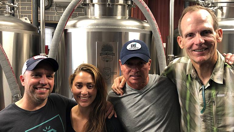 Pictured (L-R) before GRAMMY-winning BMI songwriter Tim James took the stage at the Sandy Springs Brewing Company in Minerva, OH are: SSBC co-owners Andy and Amanda Conrad, BMI songwriter Tim James and BMI's Dan Spears.