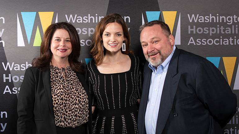 Pictured (L-R) before Bryant's performance are: BMI's Jessica Frost, WHA President and CEO Anthony Anton and BMI singer-songwriter Jane Ellen Bryant.