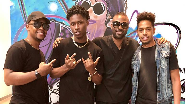(L-R) BMI's Omar Grant, Lucky Daye, BMI's Wardell Malloy and Cee Barrett pause for a photo during BMI's Acoustic Lounge at Live House in Los Angeles, on June 18.