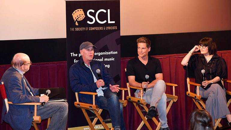"""Pictured (L-R) during the SCL panel are: Moderator and film music journalist Jon Burlingame, executive producer Mark Wolper, director and star of """"The Bad Seed"""" Rob Lowe, and award-winning BMI composer Leanna Primiani."""