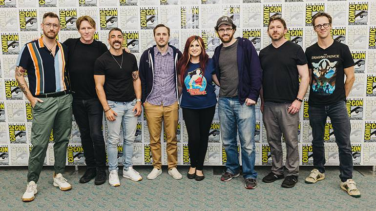"""""""The Character of Music"""" panelists gather for a photo during Comic-Con 2019. Pictured (L to R) are: co-moderator Chandler Poling (White Bear PR), BMI composer Tyler Bates (John Wick franchise), director Michael Schwandt, video game director Matt Nava (""""Abzu""""), co-moderator Anne Cecere (BMI), two-time BAFTA-winning composer Austin Wintory (""""Journey""""), showrunner Aaron Ehasz (""""The Dragon Prince""""), and Emmy-winning BMI composer Frederik Wiedmann."""