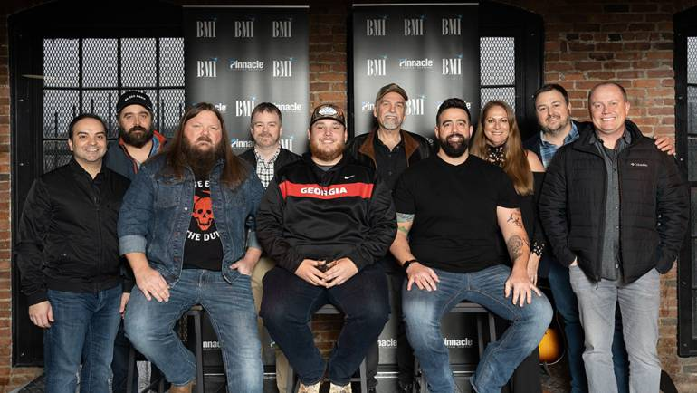 Pictured (L-R backrow): Big Machine's Mike Molinar, 50 Egg's Jonathan Singleton, Warner Chappell's Ben Vaughn, Little Extra Music's Joe Scaife and Lisa Ramsey-Perkins, BMI's Mason Hunter and Sony Music Nashville's Shane Allen. (L-R seated): BMI Songwriters Channing Wilson, Luke Combs, and Rob Snyder.