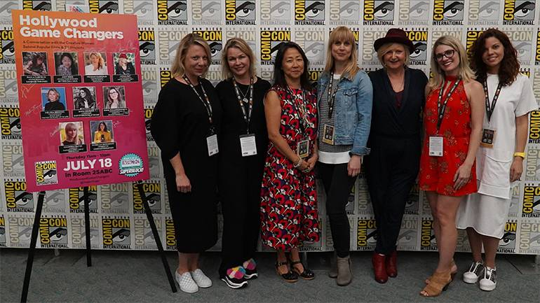 The all-female panel of Hollywood Game Changers gathers for a photo.