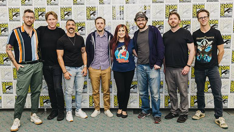 """Pictured (L-R) at BMI and White Bear PR's """"The Character of Music"""" Panel 2019 are: White Bear PR's Chandler Poling, BMI composer Tyler Bates (Cirque Du Soleil's """"R.U.N.""""), Director Michael Schwandt (Cirque Du Soleil's """"R.U.N.""""), Director Matt Nava (""""Abzu""""), BMI's Anne Cecere, composer Austin Wintory (""""Abzu""""), co-creator Aaron Ehasz (Netflix's """"The Dragon Prince"""") and BMI composer Frederik Wiedmann (Netflix's """"The Dragon Prince."""")"""