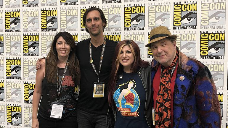 """Pictured at """"Sounds of Horror"""" are: Sabrina Huchinson, President Defiant PR, BMI composer Greg Tripi (""""Ma,"""" """"The Fix"""") BMI's Anne Cecere and BMI composer Christopher Young (""""Pet Sematary,"""" """"Hellraiser"""")."""