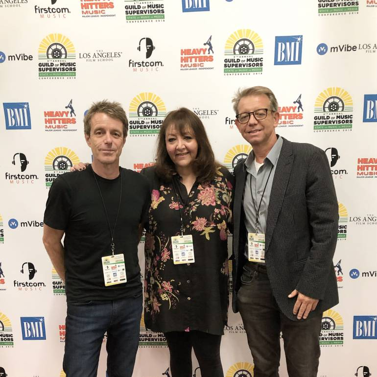 Harry Gregson-Williams, BMI's Doreen Ringer-Ross and Jonathan McHugh from the Guild of Music Supervisors